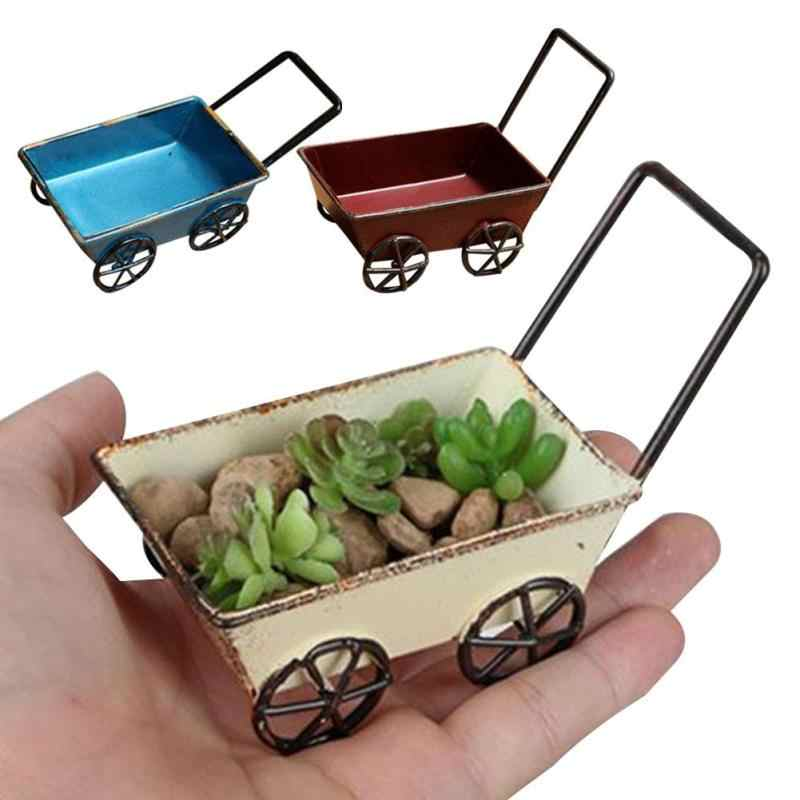 Mini Vintage Wrought Iron Trolleys  Handmade Carts Miniature Fairy Garden Craft Home Storage Toys Flower Pot Cart DecorationA40