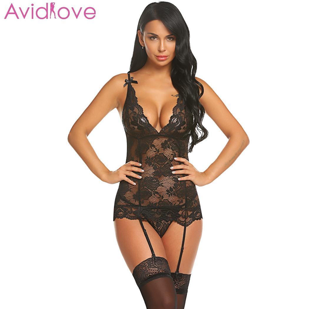Avidlove Sexy Lingerie Set Babydoll Nightwear Women Sexy V-Neck Lace Floral See Through Lingerie Sleepwear With Garter Belt