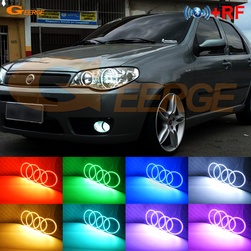 For FIAT PALIO 2004 2005 2006 headlight Excellent RF Bluetooth Controller Multi Color Ultra bright RGB