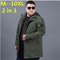 plus size 8XL 6XL 5XL 4XL Fall Autumn jacket men 2 in 1 set parka jacket windproof waterproof hooded Overcoat Casual Male Jacket