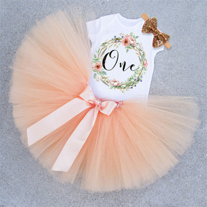 Summer Baby Girls Birthday Outfits Dresses for 1st First Birthday Party Romper +Headband 1 Year Christening Tutu Dress 3Pcs Suit(China)