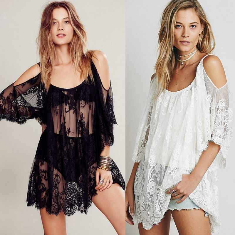 Vrouwen Badpak Lace Haak Bikini Swimwear Cover Up Casual Beach Kanten Jurk