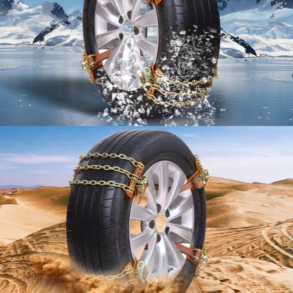 New 1PC 3 Chains Balance Design Anti-skid Chain Wear-resistant Steel Car Snow Chains For Ice/Snow/Mud Road Safe For Driving