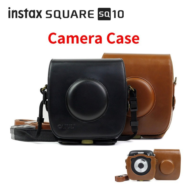 Carry PU Leather Bag Case Cover with Shoulder Strap For Fujifilm Instax SQUARE SQ10 Instant Film Photo Camera Black / Brown