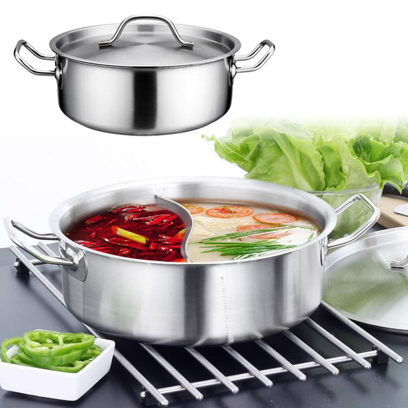 28cm Stainless Steel Hot Pot Thickened Bottom With Lid Divider Shabu Shabu Home Kitchen Dining Supply28cm Stainless Steel Hot Pot Thickened Bottom With Lid Divider Shabu Shabu Home Kitchen Dining Supply