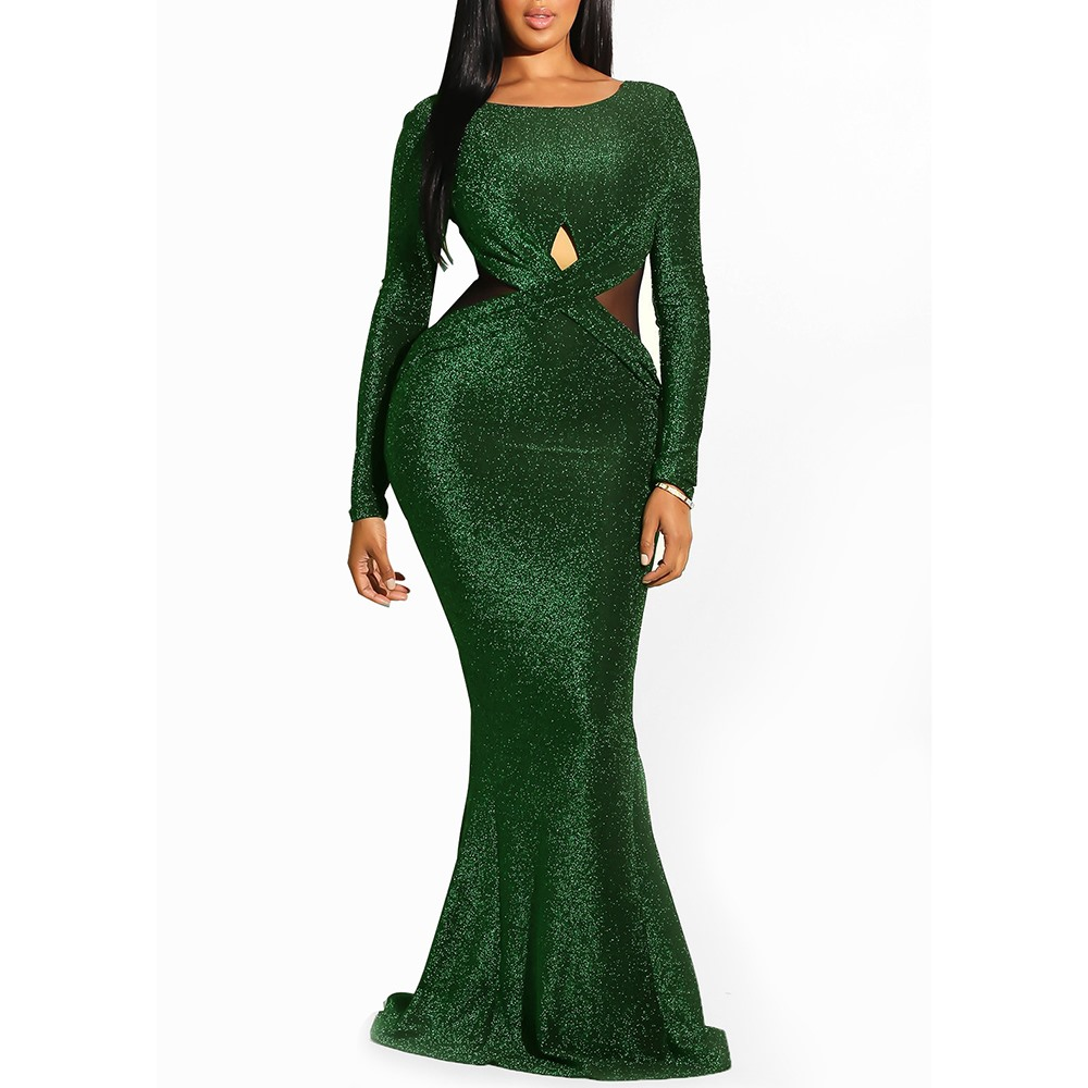 Clocolor Elegant Sequin Green Backless Ladies Sheer Evening Fashion Women Mermaid Tight Party Club Long Sexy Dress Bodycon