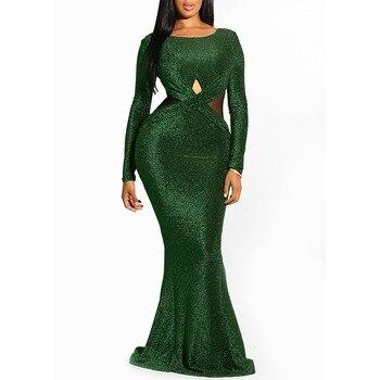 f47c48708 Clocolor elegante de lentejuela verde vestido de damas de la noche de las  mujeres de la moda de fiesta ajustado Club Sexy vestido Bodycon