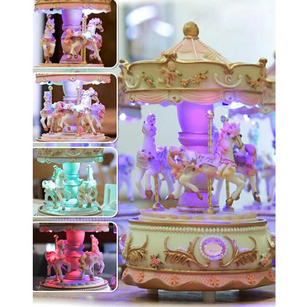 Фото Музыкальная шкатулка свадебные смолы роскошные карусель поворотный подарки