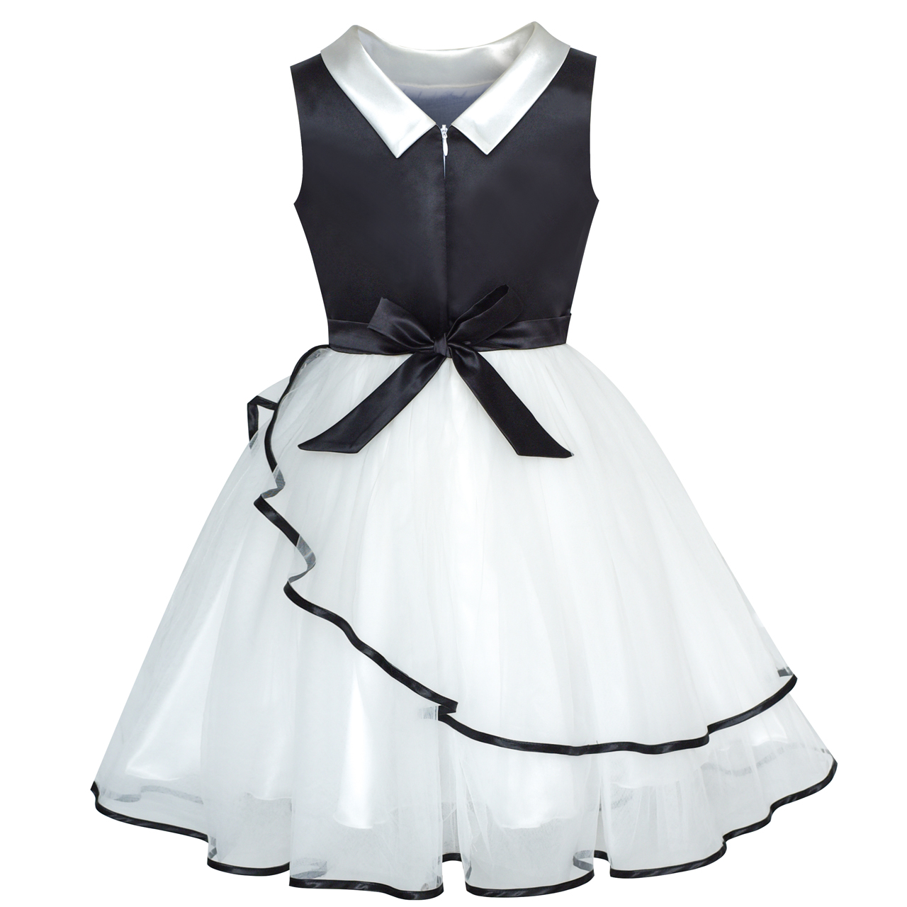 New Girls White/&Black Summer Party Pageant Dress 12 Months to 3 Years