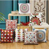 Roda círculo padrão bordado algodão linho capa de almofada geométrica fronha para sofá cama fronha decoração da sua casa almofada