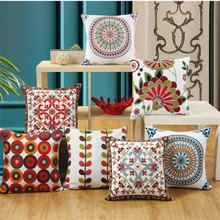 купить Wheel Circle Pattern Embroidery Cotton Linen Cushion Cover Geometric Pillow Cover For Sofa Bed Pillow Case Home Decor Almofada дешево