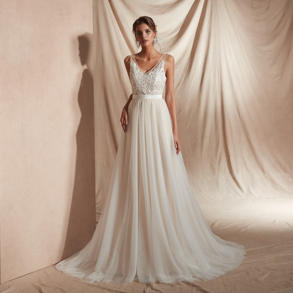 Vivian's Bridal 2019 Spring New Pearls Lace Apliques Women   Evening     Dress   Sexy Deep-v Neck Backlesss Empire Formal Party Gown