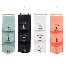 3 Pocket Wall Hanging Organizer Storage Bag Back Door Pouch Cosmetics Home Bathroom Sundries