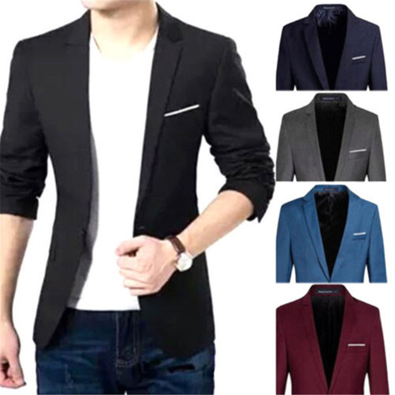 Casual Men's Korean Slim Fit Fashion Cotton Blazer Suit Black Blue Plus Size M To 3XL Male Blazers