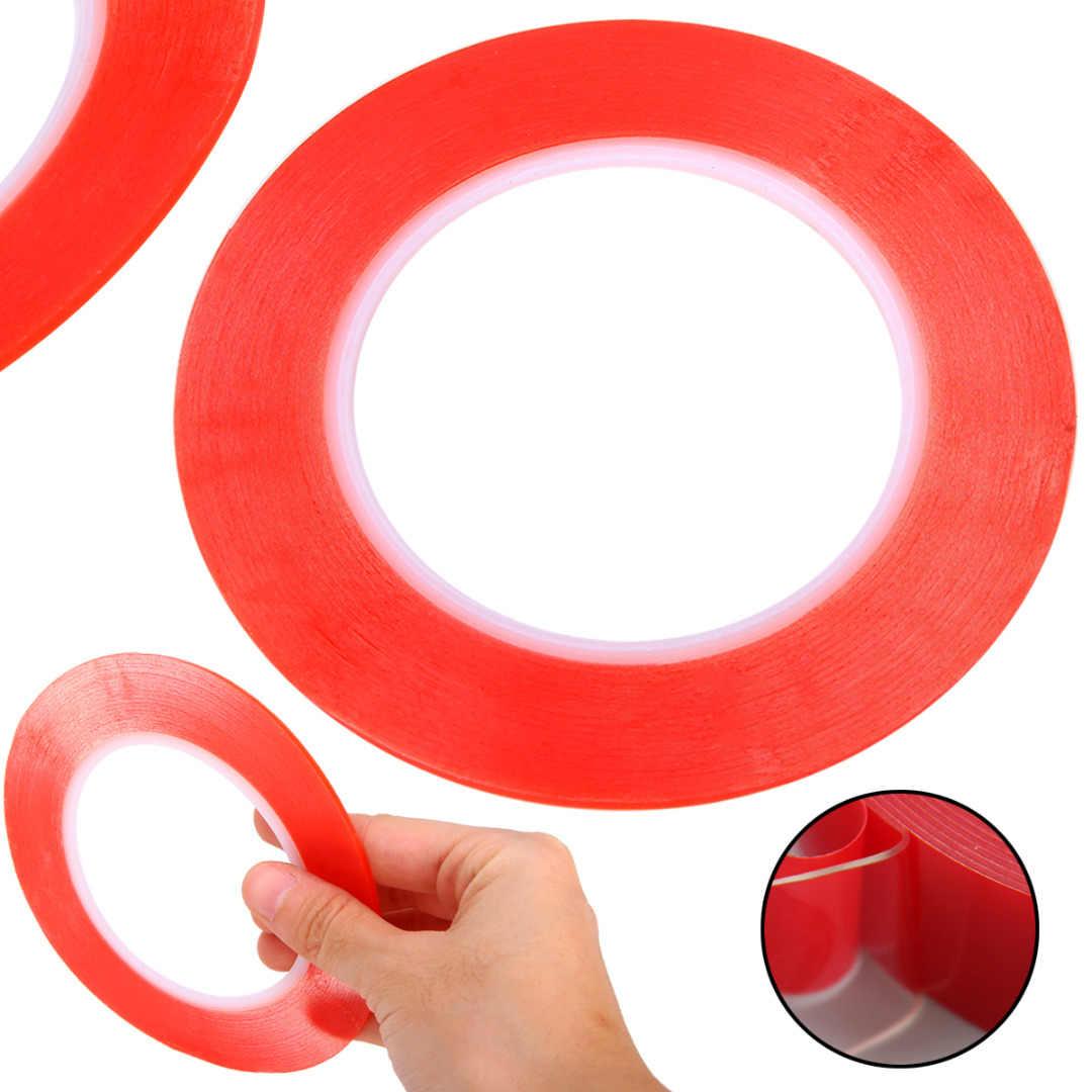 Nuevo Cintas adhesivas de doble cara transparente 25M cinta adhesiva de película roja de ancho de reparación de teléfono móvil 2mm/3mm/5mm/8mm/10mm