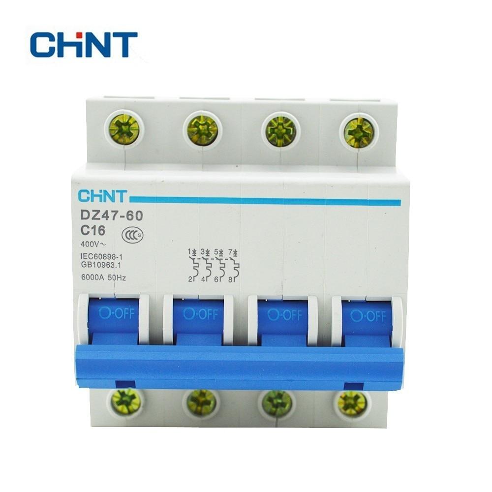 CHINT Miniature Circuit Breaker 4P 16A 230/440V Household Air Switch DZ47-60 C16CHINT Miniature Circuit Breaker 4P 16A 230/440V Household Air Switch DZ47-60 C16