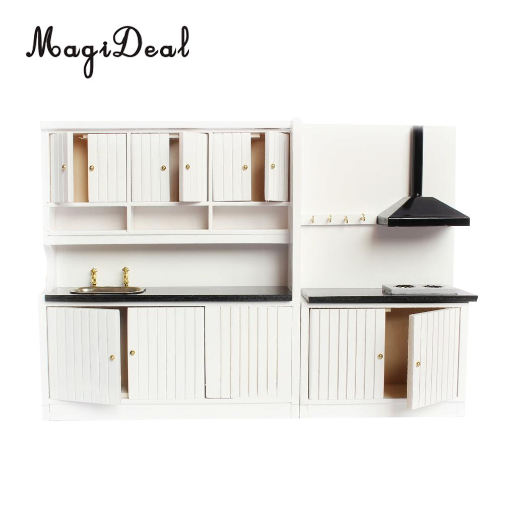 Modern Kitchen Set Wooden Furniture Model Kit For 1:12 Dollhouse Miniature Decoration