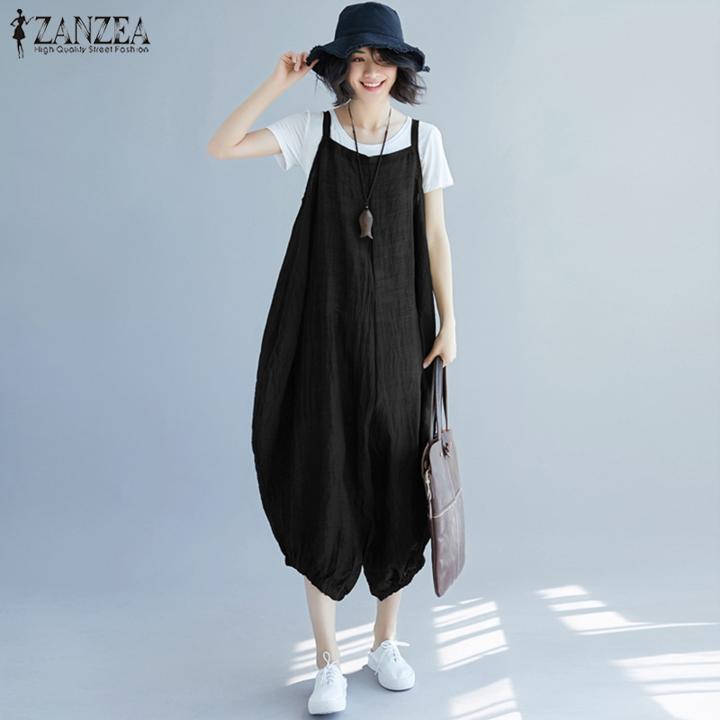 ZANZEA Summer Party Wide Leg Pants Women Strappy Solid Drop-Crotch Rompers Long Lantern Jumpsuits Harem Dungarees Overalls Femme Холст