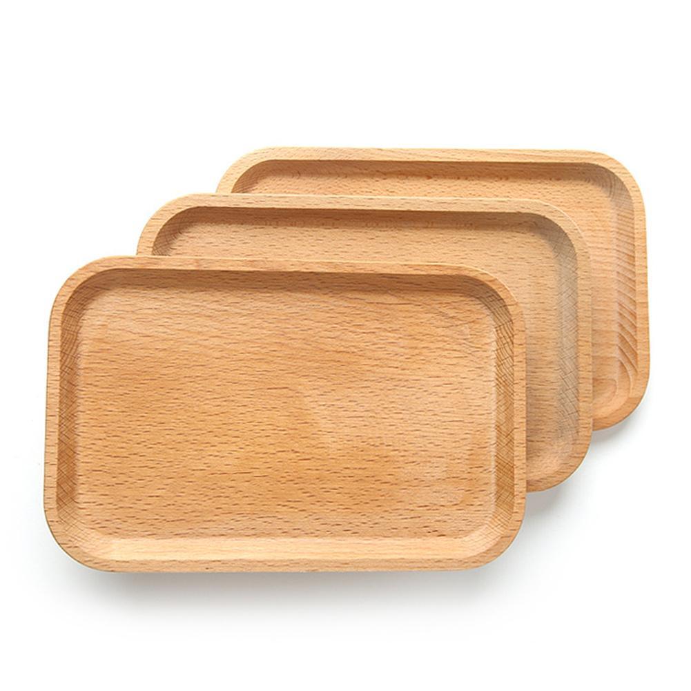 1 PC Solid Beech Wood Dinner Plate  Dessert Serving Tray Bread Fruit Seasoning Holder Dessert Snack Dish Organizer Storage Plate