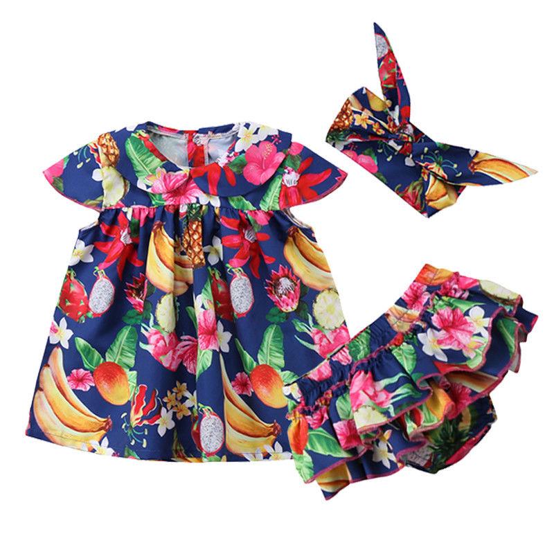 Summer Newborn Kids Baby Girl Outfit Clothes Tops Tutu Dress + Short Pants + Headband 3pcs Beachwear Holiday Cloth