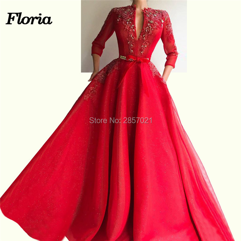 Abiye Elbise Red Long   Evening     Dress   Dubai Illusion Prom   Dress   Robe de soiree Abendkleider Arabic Couture Formal Party Gowns