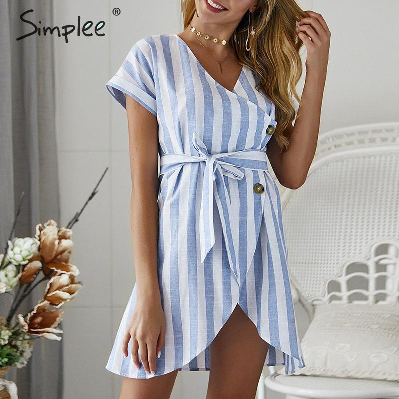 Simplee Винтаж в синюю полоску Женская летняя обувь короткое платье с v-образным вырезом с поясом на пуговицах платья больших размеров Повседне...