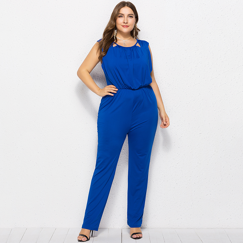 Fashion Women Plus Size   Jumpsuit   Hollow Out O Neck Sleeveless Backless Long Pants Playsuit Rompers Ladies Streetwear   Jumpsuits