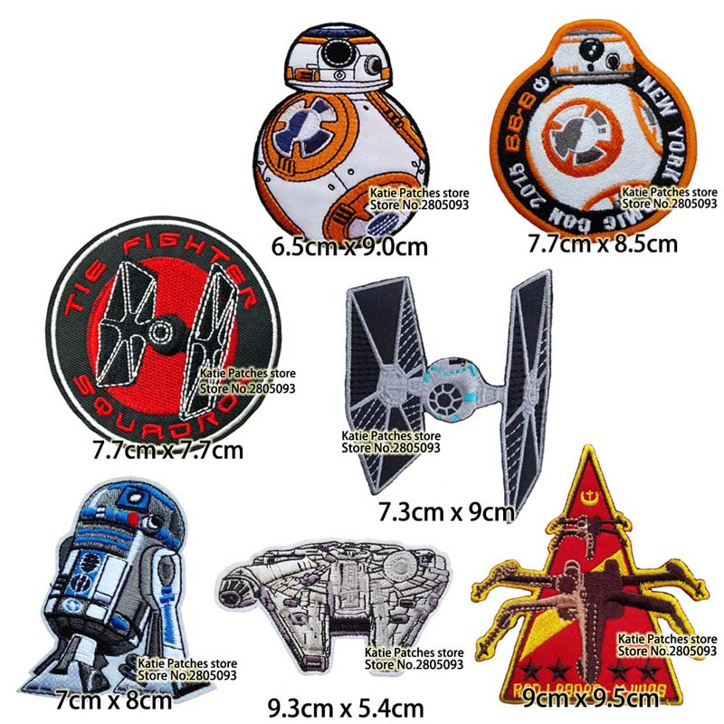 Star Wars Tie Fighter Embroidery Iron On Patches Jacket Badge Jeans Applique Bag