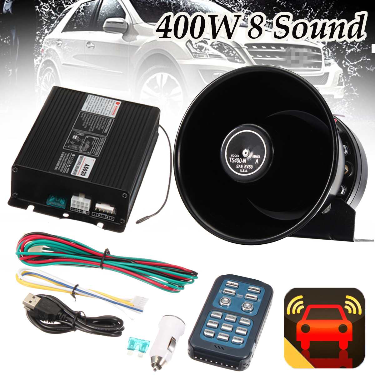 1Set 12V DC 400W Durable 8 Sound Loud Car Warning Alarm Polices Siren Horn PA Speaker Remote