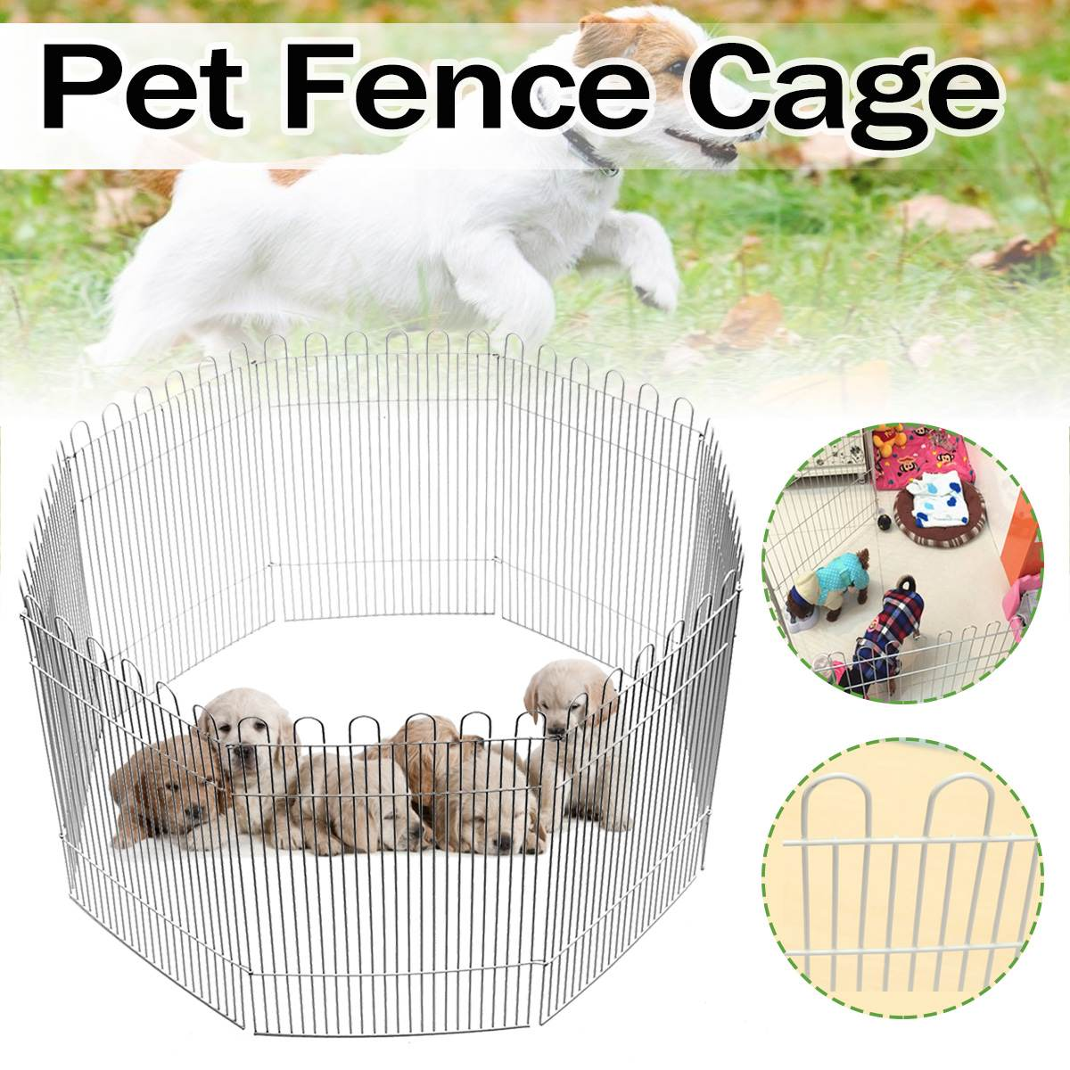 8 Panel Foldable Pet Dos Cats Fence Run Playpen for Small Pets Puppy Rabbit Hamster Folding House Cage Play Pen Indoor/Outdoor