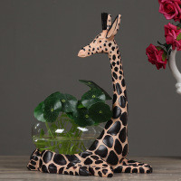 Fashion Clear Glass Vase Creative Aquarium Personality Hydroponic Flower Pot Vase Resin Giraffe Aquarium Flower Vase for Home