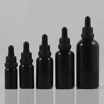 Wholesale black empty essential oil perfume glass bottles with dropper 10ml, small sample refillable cosmetic bottles