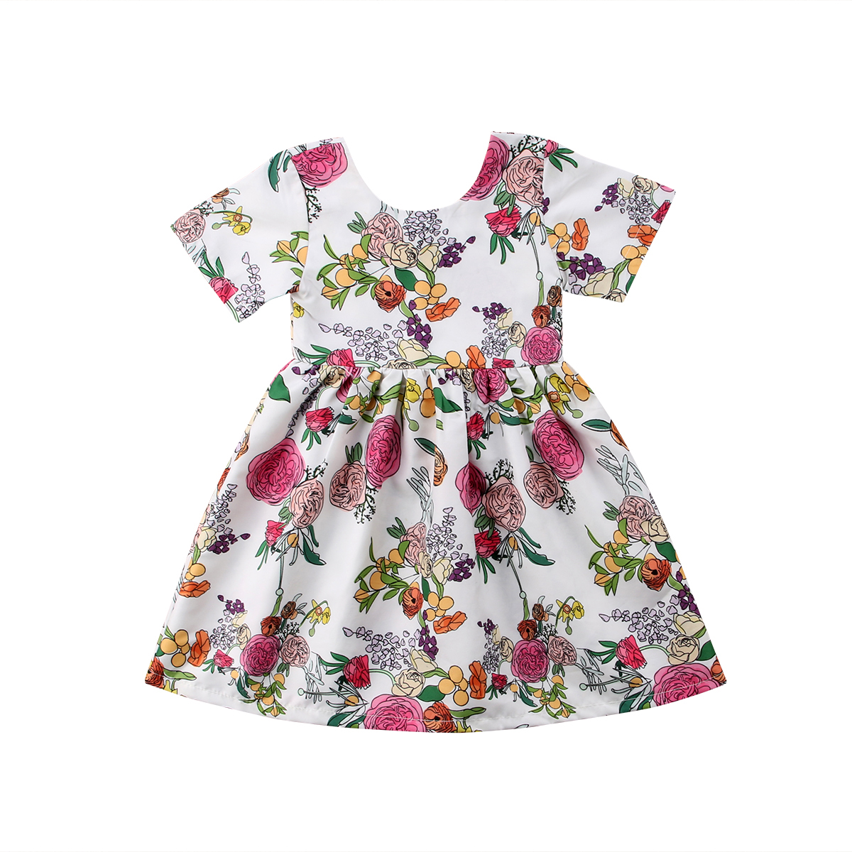 Flowers Kids Baby Girls Princess Party Short Sleeve Dress Sundress Summer 2-7T