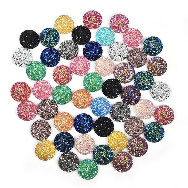 50pcs/Lot 12mm Cabochon Mix Colors Natural Stone Convex Series Flat Back Resin Cabochons Cameo Jewelry Making DIY Accessories