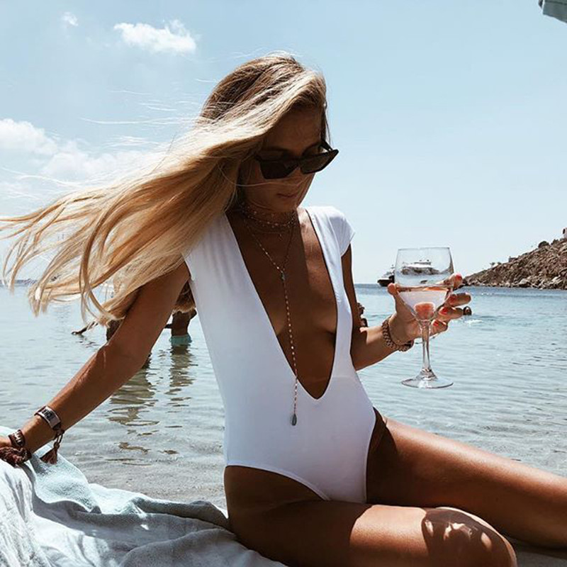 25eb9d940df52 Backless One Piece Swimsuit Sexy White Deep V Neck Monokini High Cut Thong  Swimwear Bathing Suit 2019 Summer Swimming Trikini - aliexpress.com -  imall.com