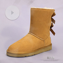 Women winter snow Boots fashion hot sales genuine Leather Cowhide  Mid-Calf Fleece-Lined Cotton faux fur warm boots
