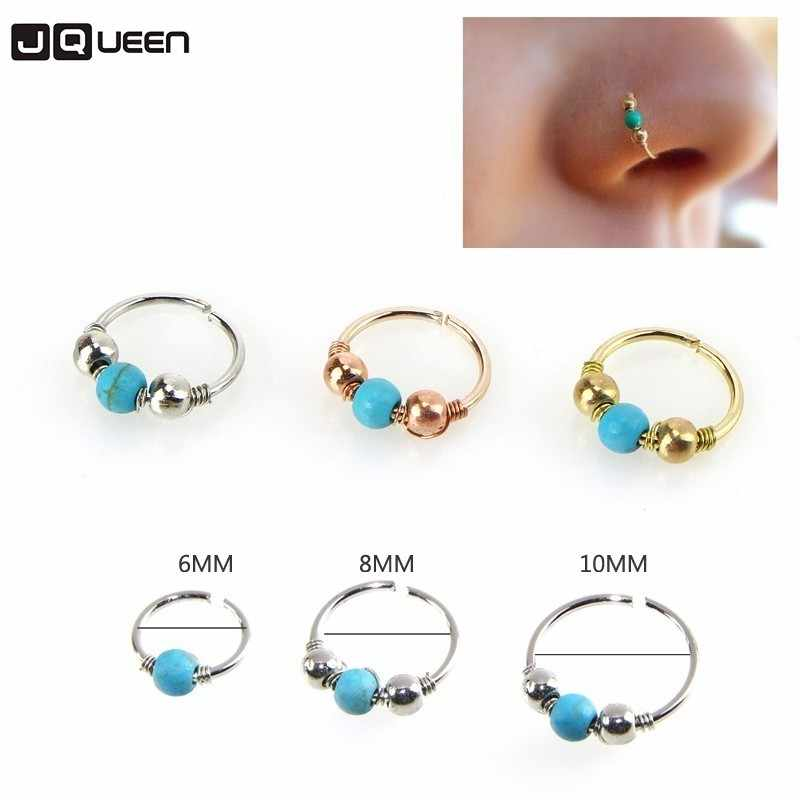 Personalized Woman Sliver Gold Rose Gold Nose Piercing Natural