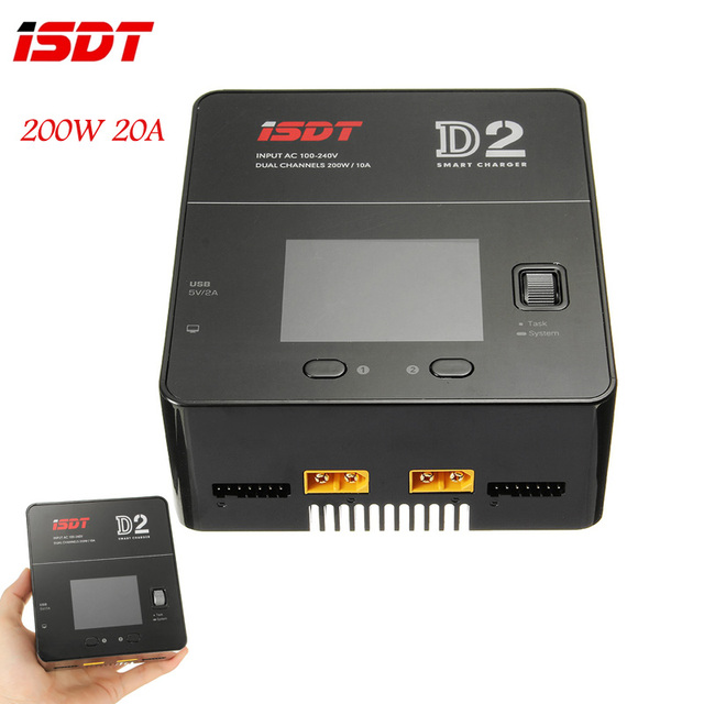 ISDT D2 200W 24A AC Dual Channel Output Smart Battery Balance Charger For LiFe Lilon LiPo LiHv Battery RC Models DIY Part Accs
