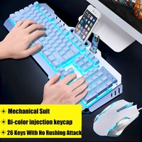 Gaming Keyboard Mechanical Wired LED Backlit Usb Ergonomic Keyboard Sets + Gamer Mouse + Mouse Pad for Tablet Desktop