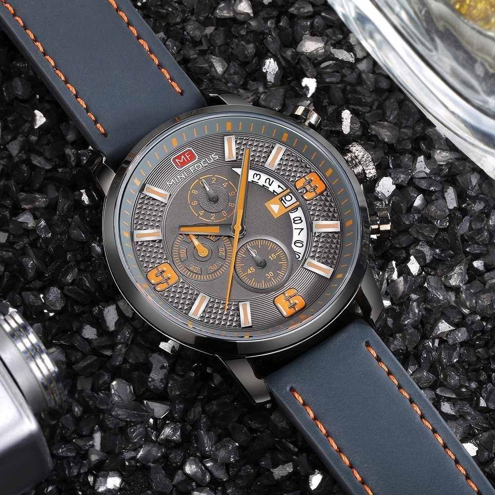MINI FOCUS montre de sport pour hommes de luxe décontracté chronographe montres Quartz montre pour hommes véritable haut en cuir marque de luxe militaire