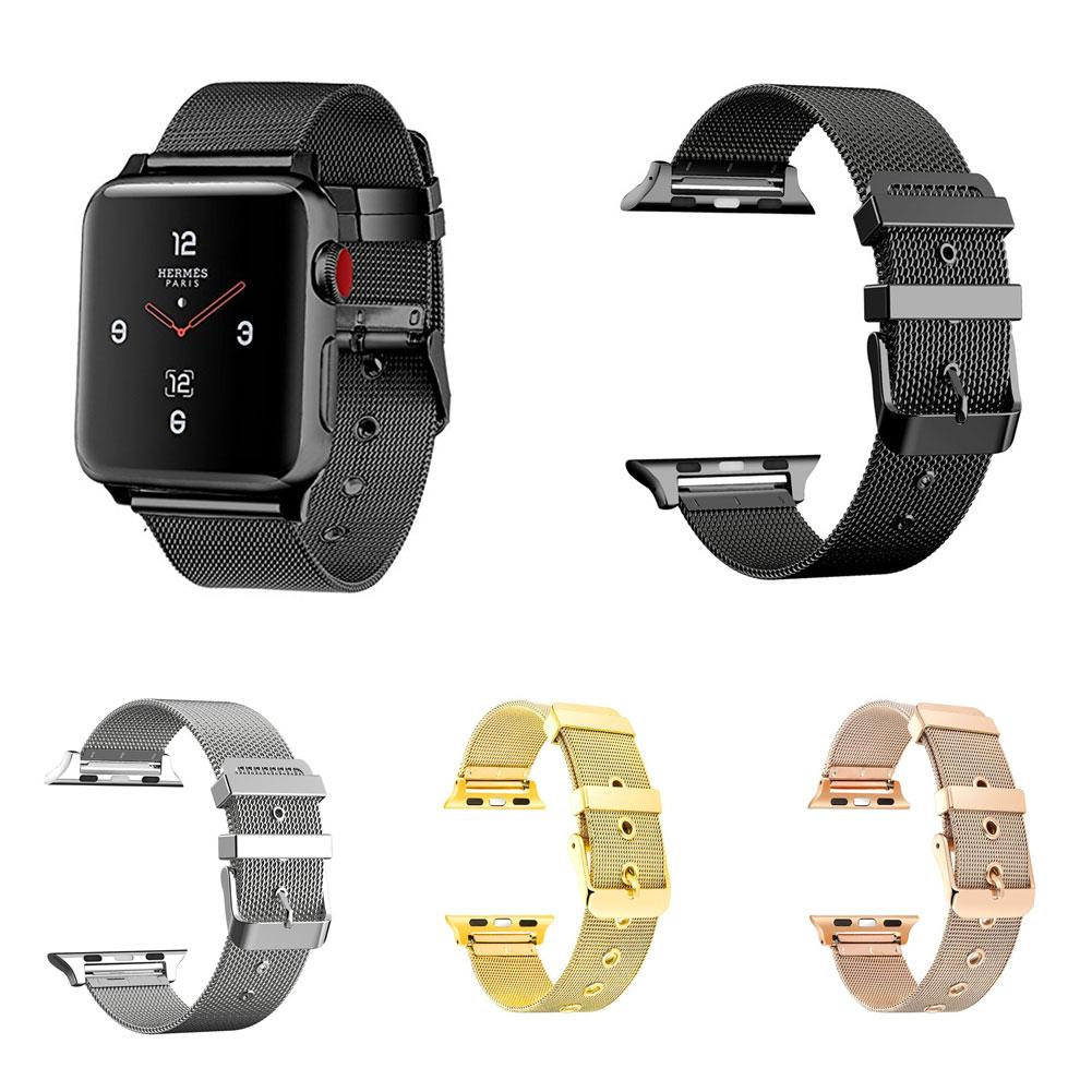 Lans 38/42mm Replacement Stainless Steel Mesh Band Watch Strap for Apple iWatch 1/2/3