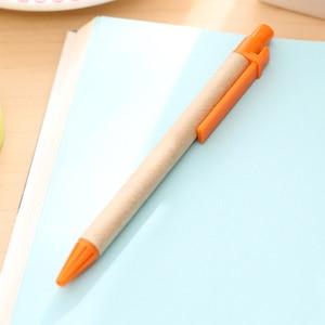 Image 2 - 100 قطعة/الوحدة الأزرق الحبر ورق صديق البيئة القلم بلاتيك كليب ورق أخضر القلم صديقة للبيئة قلم الجملة هدية القلم