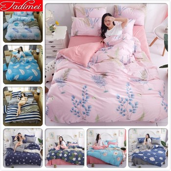 Pink AB Double Side Duvet Cover 3/4 Pcs Bedding Set Adult Kids Soft Cotton Bed Linen Single Twin Queen King Size 150x200 220x240