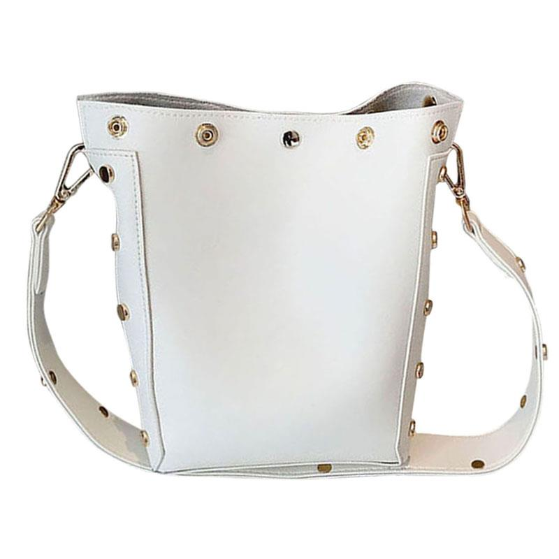 Women's Messenger Bags Casual Rivet PU Leather Bucket Bags Shoulder Bag Punk Bolsa Feminina For Shopping Party