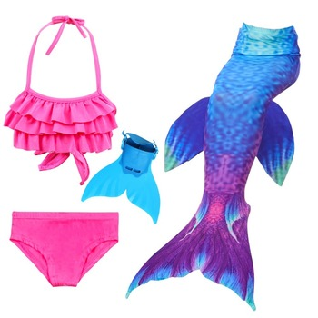 4pcs/14 Colors Girls Swimming Mermaid Tail With Monofin Bathing Suit Little Children Mermaid Costume Kids Swimsuit Cosplay sbart 2mm neoprene diving wetsuits mermaid tail simulation fish scales mermaid tail children swimming swimsuit mermaid tail fins