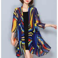 Kimono Cardigan moda Kimonos Mujer 2018 Verano Casual suelto medio largo playa Cardigans cubierta más tamaño Kimono femenino