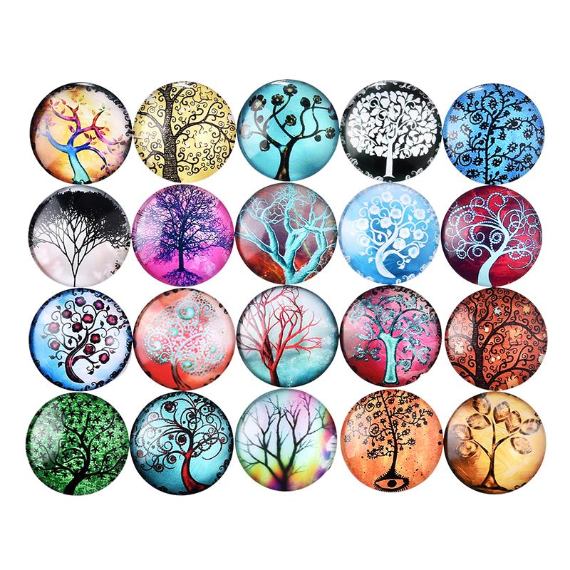 10Pcs Tree Of Life Pattern Glass 25mm 12mm Cabochons Dome Round Flat Back For Jewelry Making Handmade DIY Findings