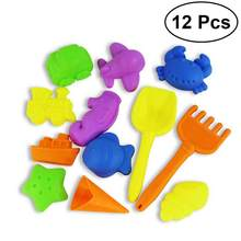 12Pcs Castle Sand Tools Beach Set Multicolor Creative Sand Mold Kits with Cartoon Molds and Bucket for Pools Backyard(China)