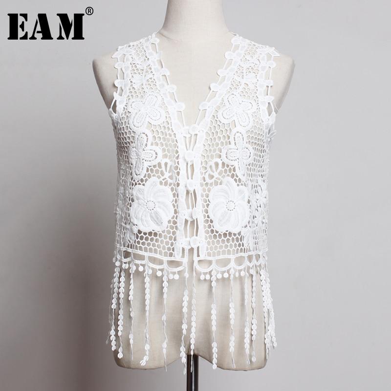[EAM] Women Loose Fit Black Big Pocket Long Big Size Vest New Hooded Sleeveless Zipper Spliced Fashion Spring Autumn 2019 JZ443