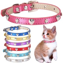 Rhinestone Small Dog Cat Collar Personalized Heart-shaped Rivet Chihuahua Puppy Collars Necklace Kitten Neck Strap Accessories